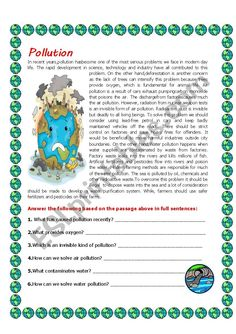 Pollution - ESL worksheet by English Exam, English Story, English Lessons, English Grammar Worksheets, Vocabulary Worksheets, English Exercises, Reading Comprehension Worksheets, English Reading, English Activities