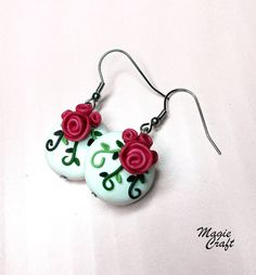 Roses and leaves earrings, Polymer Clay