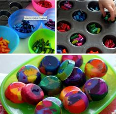 put the oven with temperature of 200º preheats - leave the crayons in the oven places and leaves until melting completely, time of about 10-20 min , it depends on the size of pieces of wax  - it leaves to cool completely!      found on facebook of Kelly Stein