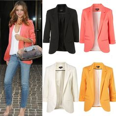 Celebrity Womens Candy Colors Seventh Volume Sleeve Suit Jacket Blazer 5 Colors | eBay