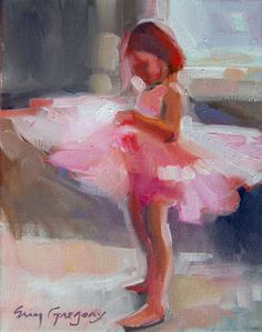 ERIN GREGORY oil painting. little girl in a tutu.