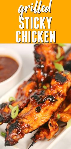 These EASY STICKY CHICKEN skewers are bursting with Asian flavor. The sauce gets thick and caramelized when grilled concentrating the incredible flavors even more. This is one of my favorite grilled chicken breast recipes. Healthy Salad Recipes, Healthy Breakfast Recipes, Lunch Recipes, Party Recipes, Healthy Food, Sticky Chicken, Canned Chicken, Bbq Chicken, Healthy Chicken