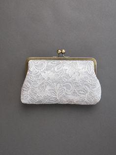 Monogram Clutch Gray Lace Clutch Bridesmaid by DavieandChiyo