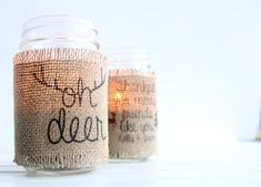 DIY Burlap Mason Jar Candle Holders. Create your own with this full tutorial and free downloadable print!