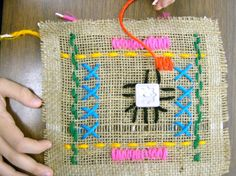 Zilker Elementary Art Class- burlap weavings
