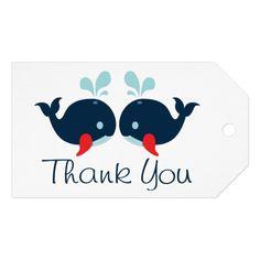 Nautical Thank You Whales Navy Blue & Red Wedding Gift Tags #wedding #craft #diy #bridekraft #blue