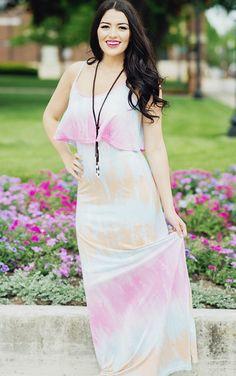 pink tie dye summer maxi dress sugarloveboutique.com