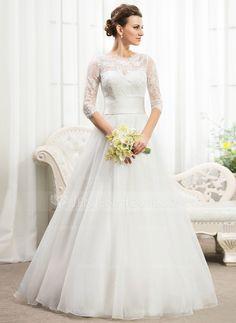 """Vestidos princesa/ Formato A Decote redondo Longos Organza de Cetim Renda Vestido de noiva com Pregueado Bordado Lantejoulas (<a href=""""tel:002056467"""">002056467</a>)"""