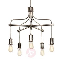 Industrialny żyrandol Douille 5pkt   Lampy.pl Hanging Lights, Wall Lights, Ceiling Lights, Metal Casting, Style Vintage, Nickel Finish, Messing, Montage, Polished Nickel