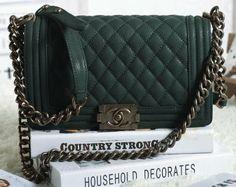 6a661a82545f CN0022 Chanel Boy Flap Shoulder Bag in Dark Green Original Nubuck Cannage  Pattern A67086 Gold Chanel