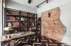 Hard not to love this Taipei apartment focused on industrialism and naturally exposed brick. Designed by CHI-TORCH Interior Design and featuring some Industrial Interior Design, Vintage Industrial Decor, Industrial Interiors, Interior Design Kitchen, Rustic Desk, Rustic Office, Wooden Desk, Vintage Apartment, Industrial Apartment