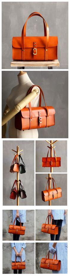 Handmade Awesome Vegetable Tanned Leather Barrel Bag Women's Fashion Handbag Shoulder Bag SQ05--LISABAG
