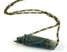 Tube Necklace Bar Necklace Ceramic Pendant Handmade Jewellery Blue Grey on Antique Bronze Chain in Handmade Jewellery Bag Made in Australia by DeeDeeDeesigns on Etsy
