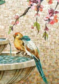 Mosaic birds on a bird bath Mosaic Tile Art, Mosaic Artwork, Pebble Mosaic, Mosaic Crafts, Mosaic Projects, Mosaic Glass, Mosaic Mirrors, Mosaic Ideas, Paper Mosaic
