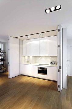 Disappearing Act: 14 Minimalist Hidden Kitchens – Remodelista boffi-white-kitchen-concealed Hidden Kitchen, Kitchen Pantry, Kitchen Decor, Kitchen Ideas, Closed Kitchen, Kitchen Cabinets, Nice Kitchen, Kitchen White, Küchen Design
