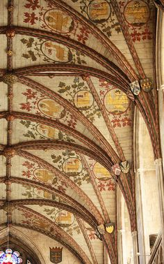 """Eagle & Lamb - """"The 14th-century vault of St Alban's Cathedral is crafted from timber and painted with the eagle of St John and the Agnus Dei [Lamb of God]. Heraldry of the various abbots and benefactors of the abbey church are also in evidence."""" by Lawrence OP, via Flickr"""