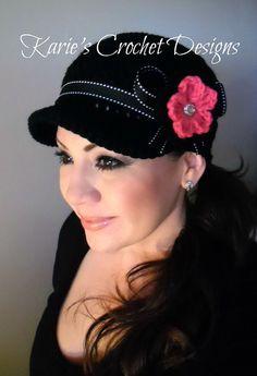 Black / Hot Pink Flower Crochet Womens Newsboy Hat Chemo Hat Cap Crochet Handmade via Etsy