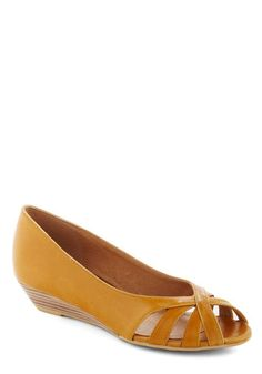 Student Teaching Wedge in Pencil Yellow by Chelsea Crew - Yellow, Solid, Cutout, Peep Toe, Wedge, Leather, Work, Low, Faux Leather, Variation, Summer