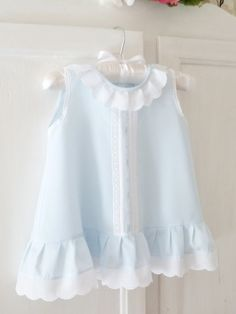 3 to 6 Month Blue Batiste Baby Dress  Ready-To-Ship