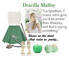"""If draco malfoy were a female..."" by justrose ❤ liked on Polyvore featuring Topshop, Structured Green, TONYMOLY and Eos"