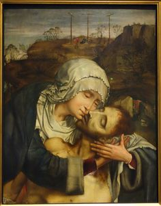 Quentin Massys (Quentin Metsys), c.1465-1530, Netherlandish, Mary Embracing the Dead Jesus, n.d. Museum M - Leuven, Belgium. Early Netherlandish Painting.