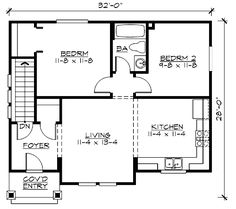 Plan No: W23379JD Style: Country, Northwest, Cottage Total Living Area: 745 sq. ft. Main Flr.: 745 sq. ft. Garage: 2 Car, 768 sq. ft. Bedrooms: 2 Full Bathrooms: 1 Half Bathrooms: None Width: 32' Depth: 28'