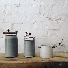 Willow and twig handle vessels by Elaine Bolt