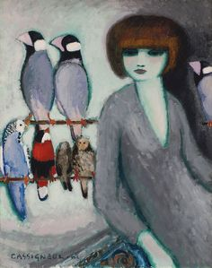 "Cassigneul Jean Pierre - Lady With Parrots 1962  (from <a href=""http://www.oldpainters.org/picture.php?/51039/category/16507""></a>)"