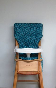 eddie bauer wooden high chair pad, baby accessory, feeding chair pad, baby and child care, replacement cover, turquoise flowers on black by SewingsillySister on Etsy