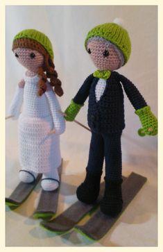 amigurumi bride n groom crochet love green skiers