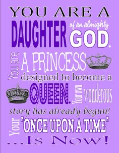 Daughter of an almighty God. Free printable.