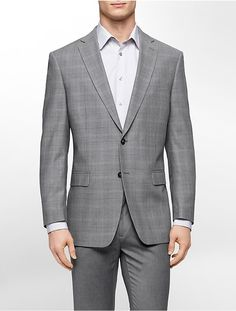 $199, Calvin Klein Classic Fit Grey Check Sports Jacket. Sold by Calvin Klein. Click for more info: https://lookastic.com/men/shop_items/291529/redirect