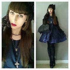 Moi Meme Moitie, Lookbook, Ootd, Gothic Lolita, Blue Dresses, Chiffon Tops, Chokers, Nice, Style