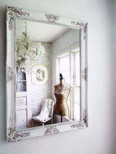 C L A S S I C  Ornate White Mirror Shabby by smallVintageAffair, $389.00