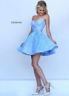 Sherri Hill 50131 Light Blue Floral Sweetheart Party Dress
