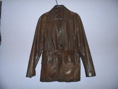 VINTAGE leather jacket  mens  1970'S  brown by EmpireAntiques