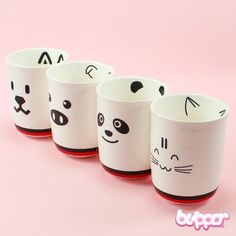Kawaii Animals Ceramic Mug - Cups & Mugs - Home & Deco - Other Products… Pottery Painting, Ceramic Painting, Diy Becher, Tassen Design, Sharpie Crafts, Sharpie Mugs, Sharpie Projects, Sharpies, Clay Projects