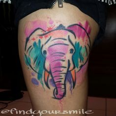 Watercolor Elephant Tattoo... WOULD LOVE A WATERCOLOR TATTOOO!!!! Next one!
