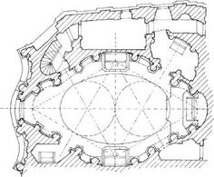 Plan of the Church of Sant'Agnese in Agone, Piazza Navona, Rome, showing the concave front the centralized space            Read more: http://www.answers.com/topic/francesco-borromini#ixzz2FXBXRKHX