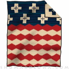Collectible Brave Star Pendleton Blanket with unique flag design celebrating the patriotism and sacrifices of Native American soldiers