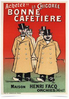Poster The Belle Epoque Bonne Cafetiere impresso com tecnologia HighHD de alta definição em papel semi-glossy especial com gramatura 250g no tamanho A3 (42x29cm) com cores vibrantes.