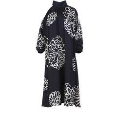 Tibi Orla Bloom Asymmetrical Cut Out Dress ($895) ❤ liked on Polyvore featuring dresses, tibi dresses, print dresses, asymmetrical dresses, cut out dresses and calf length dresses