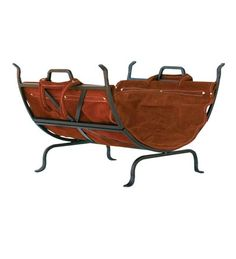 Olde World Log Rack With Leather Carrier