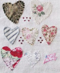 Small art quilt on antique linen Hearts and by ColetteCopeland