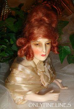 Antique French Half Boudoir Wax Doll with Auburn Mohair Wig