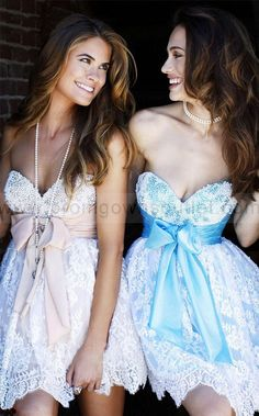 cute homecoming dress:Lovely sweetheart neckline beads pearls sash bow empire waistline lace A-line mini cocktail dress