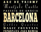 ON SALE Barcelona, Spain, Typography Art Poster / Bus/ Transit / Subway Roll Art 18X24-Barcelona's Attractions Wall Art Decoration-LHA-231