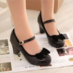 Womens Lolita Bowknot Mary Janes Round Toe Block Chunky Heel Ankle Strap Shoes in Clothing, Shoes & Accessories, Women's Shoes, Heels Ankle Strap Shoes, Bow Shoes, Me Too Shoes, Shoes Uk, Vintage Inspired Shoes, Vintage Shoes, Mode Kawaii, Kawaii Shoes, Lolita Shoes