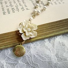 Romantic Flower Locket Necklace Pearl by laurenblythedesigns, $110.00