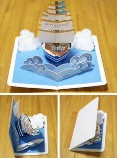 técnica de pop up em cartão de aniversário. <pop-up card [sailing ship] original handmade by Kagisippo. ------------------------- [Youtube] youtu.be/_JljNMU5gtU dessert>